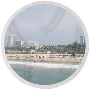 Santa Monica Beach, Santa Monica, Los Round Beach Towel by Panoramic Images