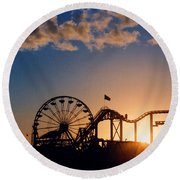 Santa Monica Pier Round Beach Towel by Art Block Collections