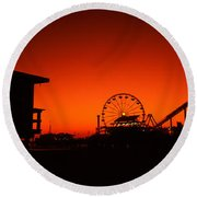 Santa Monica Pier, Santa Monica Beach Round Beach Towel by Panoramic Images