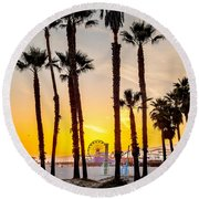Santa Monica Palms Round Beach Towel