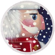 Santa Nutcracker Round Beach Towel