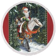 Santa Of The Northern Forest Round Beach Towel