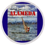 Alameda Santa's Greetings Round Beach Towel by Linda Weinstock