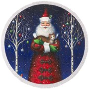 Santa's Cat Round Beach Towel