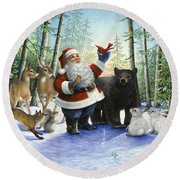 Santa's Christmas Morning Round Beach Towel