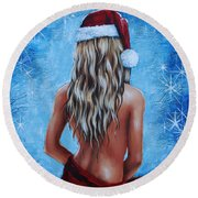 Santa's Helper Round Beach Towel