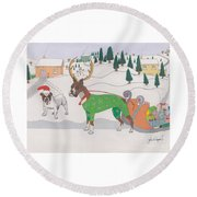 Santas Helpers Round Beach Towel