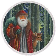 Santa's Journey Round Beach Towel