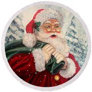 Santa's On His Way Round Beach Towel