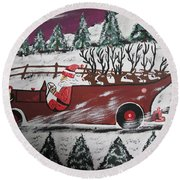 Santa's Truckload Of Reindeer  Round Beach Towel