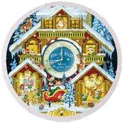 Santas Workshop Cuckoo Clock Round Beach Towel