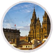 Round Beach Towel featuring the photograph Santiago De Compostela Cathedral Galicia Spain by Pablo Avanzini