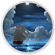 Santisima Trinida In The Moonlight 2 Round Beach Towel
