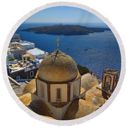 Santorini Caldera With Church And Thira Village Round Beach Towel