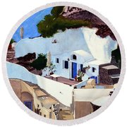 Santorini Cave Homes Round Beach Towel by Mike Robles