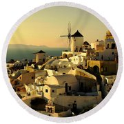 Santorini Sunset Round Beach Towel