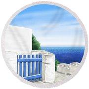 Santorini Round Beach Towel
