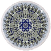 Sapphire Mandala Round Beach Towel