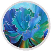 Round Beach Towel featuring the painting Sapphire Solitaire by Sandi Whetzel