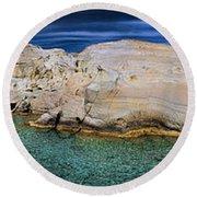 Sarakiniko Beach In Milos Island Greece Round Beach Towel