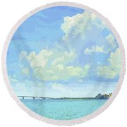 Sarasota Skyline From Sarasota Bay Round Beach Towel by Susan Molnar