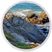 Sarcophagus Formation On Seaside Rocks Round Beach Towel by Susan Wiedmann