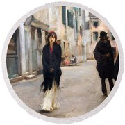 Sargent's Street In Venice Round Beach Towel by Cora Wandel