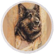 Sasha German Shepherd Round Beach Towel