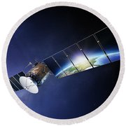 Satellite Communications With Earth Round Beach Towel