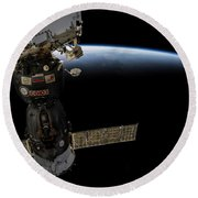 Satellite Over Earth Round Beach Towel