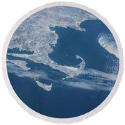 Satellite View Of Cape Cod Area Round Beach Towel