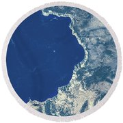Satellite View Of Crater Lake, Oregon Round Beach Towel