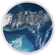 Satellite View Of Cuban Islands Round Beach Towel