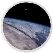 Satellite View Of Earth With Moon Round Beach Towel