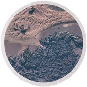 Satellite View Of Wet Sand On Riverbed Round Beach Towel