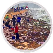 Round Beach Towel featuring the photograph Saturday Morning On The Surfside Jetty by Gary Holmes