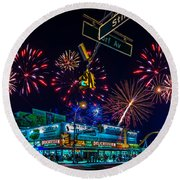 Saturday Night At Coney Island Round Beach Towel