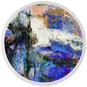 Round Beach Towel featuring the painting Sausalito by Dominic Piperata