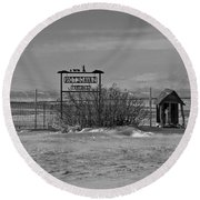 Round Beach Towel featuring the photograph Savageton Cemetery  Wyoming by Cathy Anderson