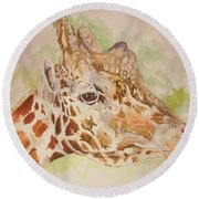 Savanna Giraffe Round Beach Towel
