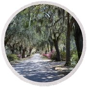 Savannah Georgia Gothic Cemetery Bonaventure Spanish Moss Trees - Hanging Spanish Moss Trees Round Beach Towel