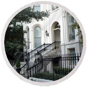Savannah Georgia Historical District Victorian Homes Architecture - Savannah Mansions Round Beach Towel