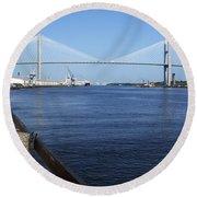 Savannah River Bridge Ga Round Beach Towel