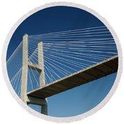 Savannah River Bridge Georgia Usa Round Beach Towel