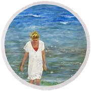 Round Beach Towel featuring the painting Savoring The Sea by Margaret Bobb