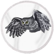 Saw-whet Owl Round Beach Towel