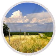 Round Beach Towel featuring the photograph Sawmill Creek Road by Cathy Mahnke