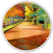Sawmill Road Autumn Vermont Landscape Round Beach Towel