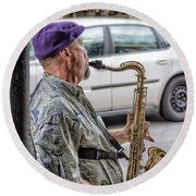 Sax In The Street Round Beach Towel