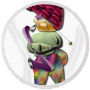 Round Beach Towel featuring the digital art Sax Man by Marvin Blaine